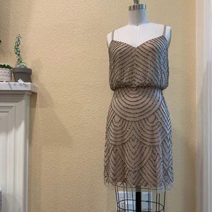 Adrianna Papell Taupe Beaded Mini Dress Size M
